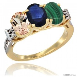 10K Yellow Gold Natural Morganite, Blue Sapphire & Malachite Ring 3-Stone Oval 7x5 mm Diamond Accent