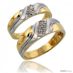 14k Gold 2-Piece His (7mm) & Hers (5mm) Diamond Wedding Band Set w/ Rhodium Accent, w/ 0.14 Carat Brilliant Cut Diamonds