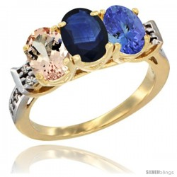 10K Yellow Gold Natural Morganite, Blue Sapphire & Tanzanite Ring 3-Stone Oval 7x5 mm Diamond Accent