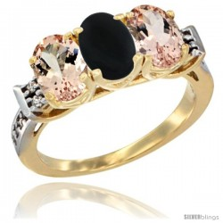 10K Yellow Gold Natural Black Onyx & Morganite Sides Ring 3-Stone Oval 7x5 mm Diamond Accent
