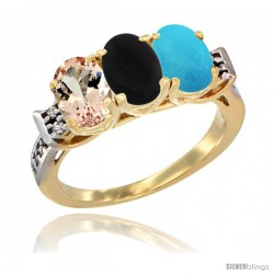 10K Yellow Gold Natural Morganite, Black Onyx & Turquoise Ring 3-Stone Oval 7x5 mm Diamond Accent