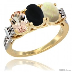 10K Yellow Gold Natural Morganite, Black Onyx & Opal Ring 3-Stone Oval 7x5 mm Diamond Accent
