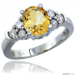 10K White Gold Natural Citrine Ring Oval 9x7 Stone Diamond Accent