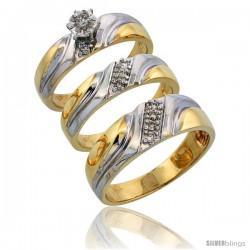 14k Gold 3-Piece Trio His (7mm) & Hers (5mm) Diamond Wedding Band Set w/ Rhodium Accent, w/ 0.24 Carat Brilliant Cut Diamonds