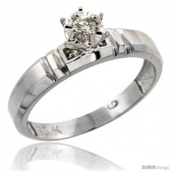 Sterling Silver Diamond Engagement Ring, w/ 0.05 Carat Brilliant Cut Diamonds, 5/32 in. (4mm) wide -Style Ag123er