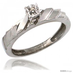 Sterling Silver Diamond Engagement Ring w/ 0.03 Carat Brilliant Cut Diamonds, 5/32 in. (4mm) wide -Style Ag152er