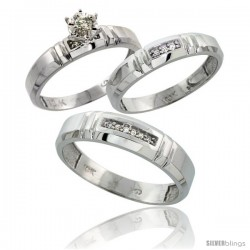 Sterling Silver 3-Piece Trio His (5.5mm) & Hers (4mm) Diamond Wedding Band Set, w/ 0.10 Carat Brilliant -Style Ag123w3