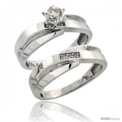 Sterling Silver 2-Piece Diamond Engagement Ring Set, w/ 0.07 Carat Brilliant Cut Diamonds, 1/4 in. (6mm) wide
