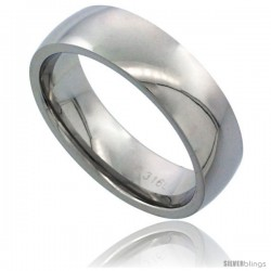 Surgical Steel 6mm Domed Wedding Band Thumb Ring Comfort-Fit High Polish