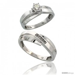 Sterling Silver 2-Piece Diamond Ring Set ( Engagement Ring & Man's Wedding Band ), w/ 0.08 Carat Brilliant Cut Diamonds, ( 6mm