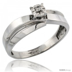Sterling Silver Diamond Engagement Ring, w/ 0.05 Carat Brilliant Cut Diamonds, 1/4 in. (6mm) wide