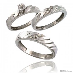 Sterling Silver 3-Pc. Trio His (5mm) & Hers (4mm) Diamond Wedding Ring Band Set, w/ 0.075 Carat Brilliant Cut Diamonds