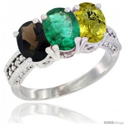 14K White Gold Natural Smoky Topaz, Emerald & Lemon Quartz Ring 3-Stone 7x5 mm Oval Diamond Accent