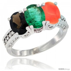 14K White Gold Natural Smoky Topaz, Emerald & Coral Ring 3-Stone 7x5 mm Oval Diamond Accent
