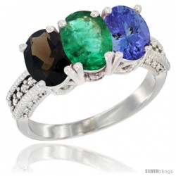 14K White Gold Natural Smoky Topaz, Emerald & Tanzanite Ring 3-Stone 7x5 mm Oval Diamond Accent