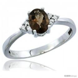 14k White Gold Ladies Natural Smoky Topaz Ring oval 6x4 Stone Diamond Accent