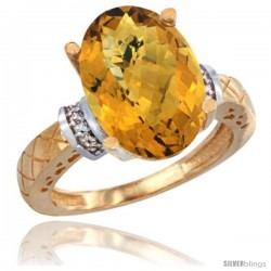 14k Yellow Gold Diamond Whisky Quartz Ring 5.5 ct Oval 14x10 Stone
