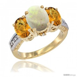 14K Yellow Gold Ladies 3-Stone Oval Natural Opal Ring with Whisky Quartz Sides Diamond Accent