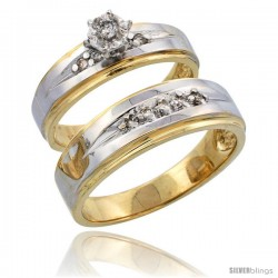 14k Gold 2-Piece Diamond Ring Set w/ Rhodium Accent ( Engagement Ring & Man's Wedding Band ), w/ 0.20 Carat Brilliant Cut