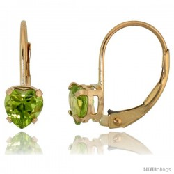 10k Yellow Gold Natural Peridot Leverback Heart Earrings 5mm August Birthstone, 9/16 in tall