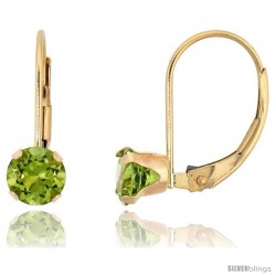 10k Yellow Gold Natural Peridot Leverback Earrings 5mm Brilliant Cut August Birthstone, 9/16 in tall