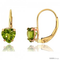 10k Yellow Gold Natural Peridot Leverback Heart Earrings 6mm August Birthstone, 9/16 in tall