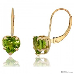 10k Yellow Gold Natural Peridot Leverback Heart Earrings 7mm August Birthstone, 9/16 in tall