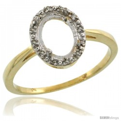 10k Gold Semi-Mount ( 8x6 mm ) Oval Stone Ring w/ 0.007 Carat Brilliant Cut Diamonds, 7/16 in. (11mm) wide