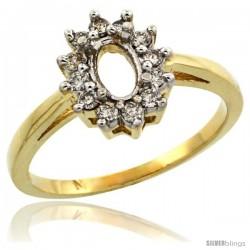 10k Gold Semi-Mount ( 6x4 mm ) Oval Stone Ring w/ 0.212 Carat Brilliant Cut Diamonds, 7/16 in. (11mm) wide