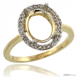 10k Gold Semi-Mount ( 10x8 mm ) Oval Stone Ring w/ 0.067 Carat Brilliant Cut Diamonds, 17/32 in. (13.5mm) wide