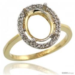 10k Gold Semi-Mount ( 10x8 mm ) Oval Stone Ring w/ 0.067 Carat Brilliant Cut Diamonds, 17/32 in. (13.5mm) wide