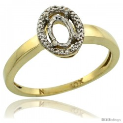 10k Gold Semi-Mount ( 6x4 mm ) Oval Stone Ring w/ 0.013 Carat Brilliant Cut Diamonds, 3/8 in. (9.5mm) wide