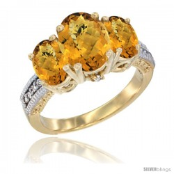 14K Yellow Gold Ladies 3-Stone Oval Natural Whisky Quartz Ring Diamond Accent