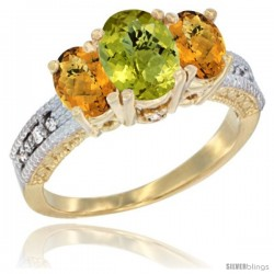 14k Yellow Gold Ladies Oval Natural Lemon Quartz 3-Stone Ring with Whisky Quartz Sides Diamond Accent