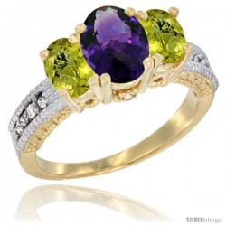 14k Yellow Gold Ladies Oval Natural Amethyst 3-Stone Ring with Lemon Quartz Sides Diamond Accent