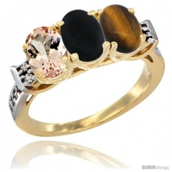 10K Yellow Gold Natural Morganite, Black Onyx & Tiger Eye Ring 3-Stone Oval 7x5 mm Diamond Accent