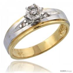 14k Gold Diamond Engagement Ring w/ Rhodium Accent, w/ 0.12 Carat Brilliant Cut Diamonds, 3/16 in. (5mm) wide