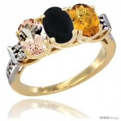 10K Yellow Gold Natural Morganite, Black Onyx & Whisky Quartz Ring 3-Stone Oval 7x5 mm Diamond Accent