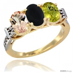 10K Yellow Gold Natural Morganite, Black Onyx & Lemon Quartz Ring 3-Stone Oval 7x5 mm Diamond Accent