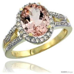 10k Yellow Gold Ladies Natural Morganite Ring oval 10x8 Stone