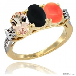 10K Yellow Gold Natural Morganite, Black Onyx & Coral Ring 3-Stone Oval 7x5 mm Diamond Accent