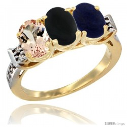 10K Yellow Gold Natural Morganite, Black Onyx & Lapis Ring 3-Stone Oval 7x5 mm Diamond Accent