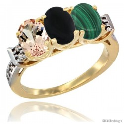 10K Yellow Gold Natural Morganite, Black Onyx & Malachite Ring 3-Stone Oval 7x5 mm Diamond Accent