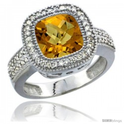 14k White Gold Ladies Natural Whisky Quartz Ring Diamond Accent, Cushion-cut 4 ct. 8x8 Stone Diamond Accent