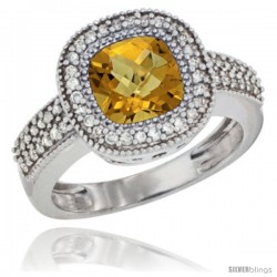 14k White Gold Ladies Natural Whisky Quartz Ring Cushion-cut 3.5 ct. 7x7 Stone Diamond Accent