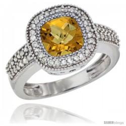 14k White Gold Ladies Natural Whisky Quartz Ring Cushion-cut 3.5 ct. 7x7 Stone Diamond Accent