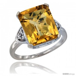 14k White Gold Ladies Natural Whisky Quartz Ring Emerald-shape 12x10 Stone Diamond Accent