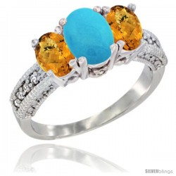 14k White Gold Ladies Oval Natural Turquoise 3-Stone Ring with Whisky Quartz Sides Diamond Accent