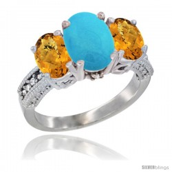 14K White Gold Ladies 3-Stone Oval Natural Turquoise Ring with Whisky Quartz Sides Diamond Accent