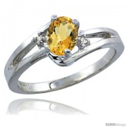 10k White Gold Natural Citrine Ring Oval 6x4 Stone Diamond Accent -Style Cw909165